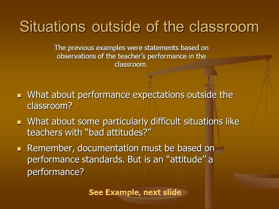 Situations outside of the classroom What about performance expectations outside the classroom? What about performance expectations outside the classro