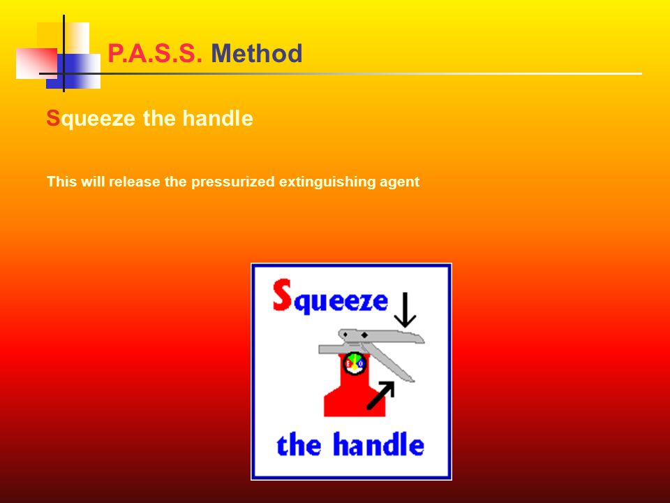 Squeeze the handle This will release the pressurized extinguishing agent P.A.S.S. Method