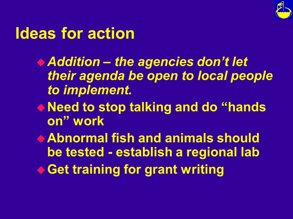 Ideas for action u Addition – the agencies don't let their agenda be open to local people to implement.