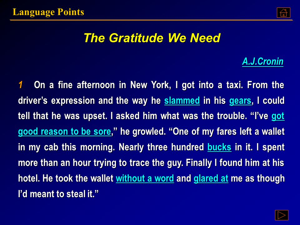 Language Points The Gratitude We Need Text A: