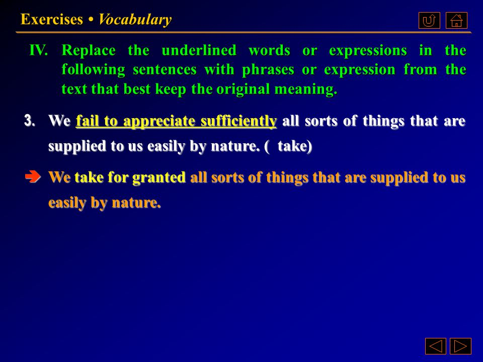 IV.Replace the underlined words or expressions in the following sentences with phrases or expression from the text that best keep the original meaning.
