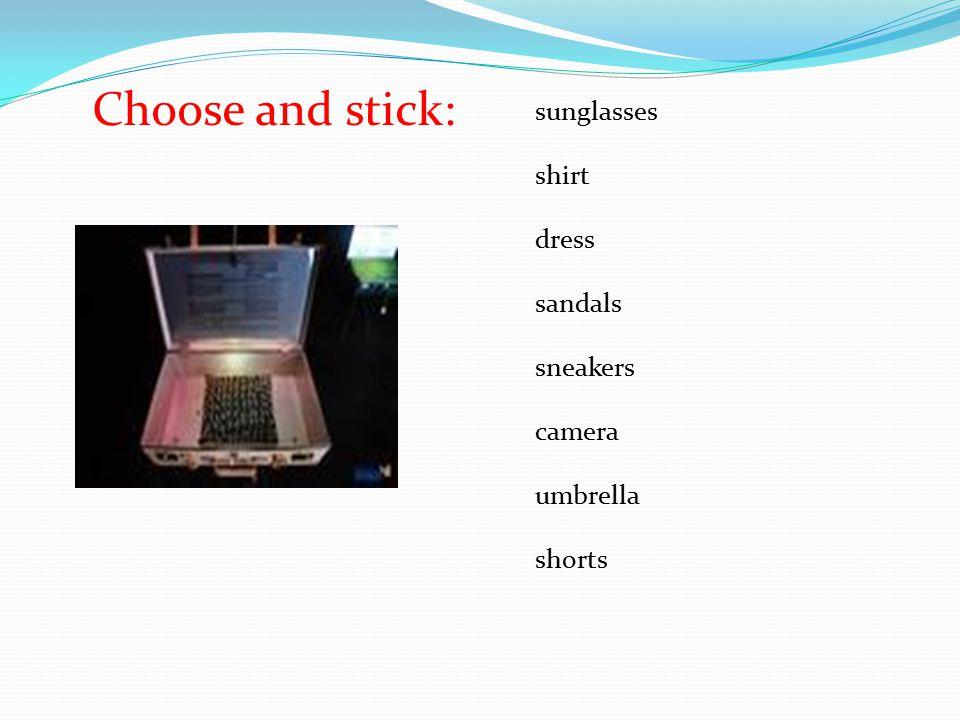 sunglasses shirt dress sandals sneakers camera umbrella shorts Choose and stick: