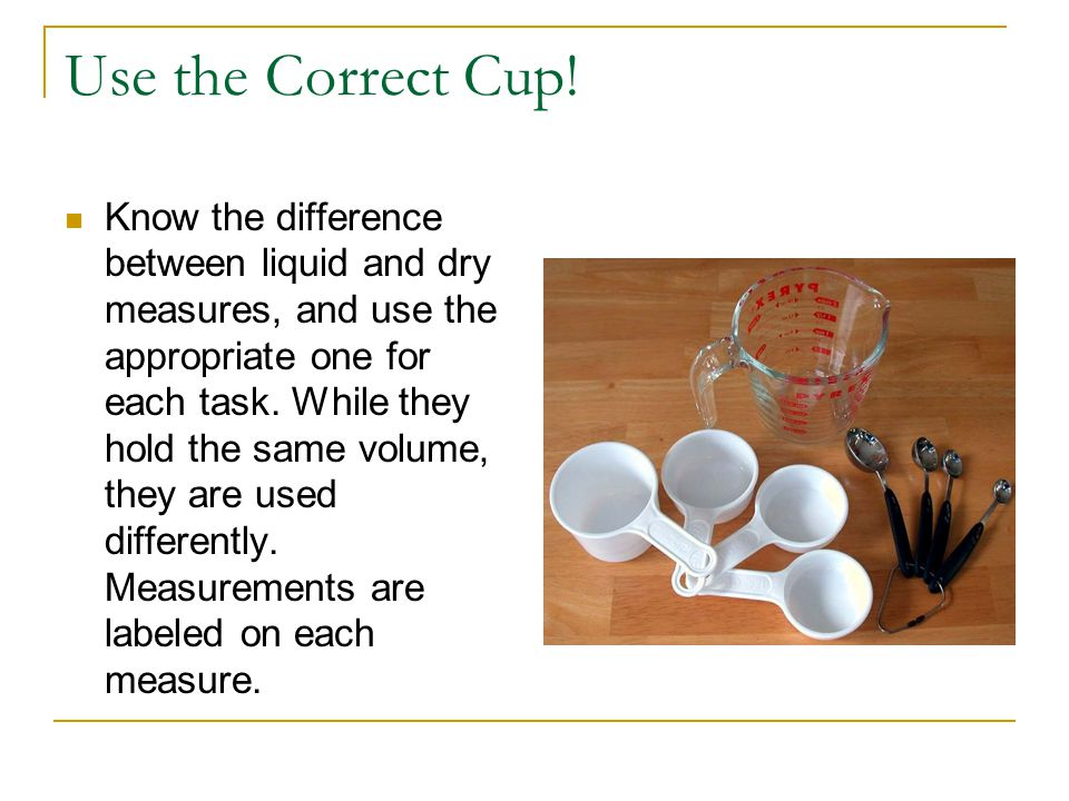 Use the Correct Cup.