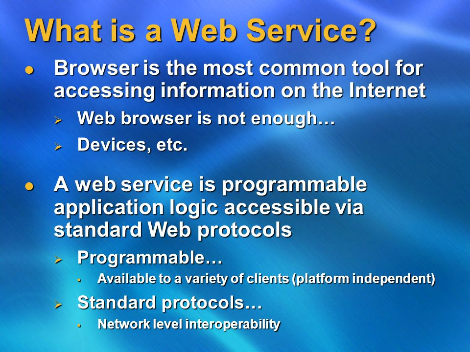 Common Questions/Issues How do you publish the location of a web service.