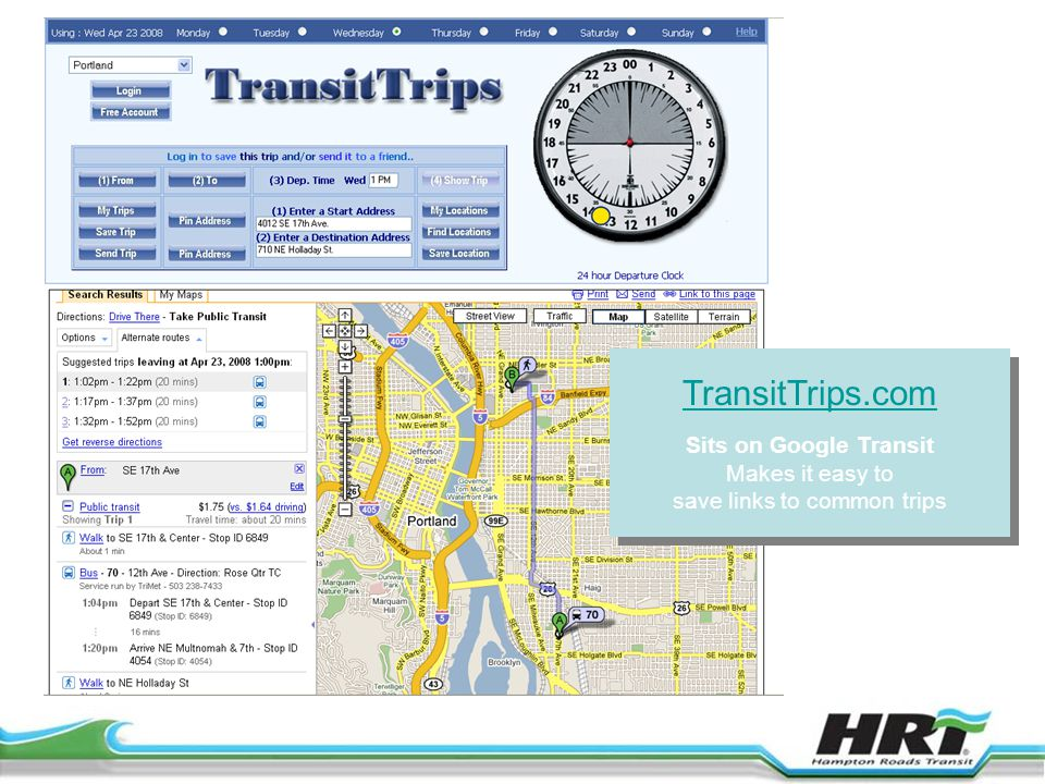 TransitTrips.com Sits on Google Transit Makes it easy to save links to common trips TransitTrips.com Sits on Google Transit Makes it easy to save links to common trips