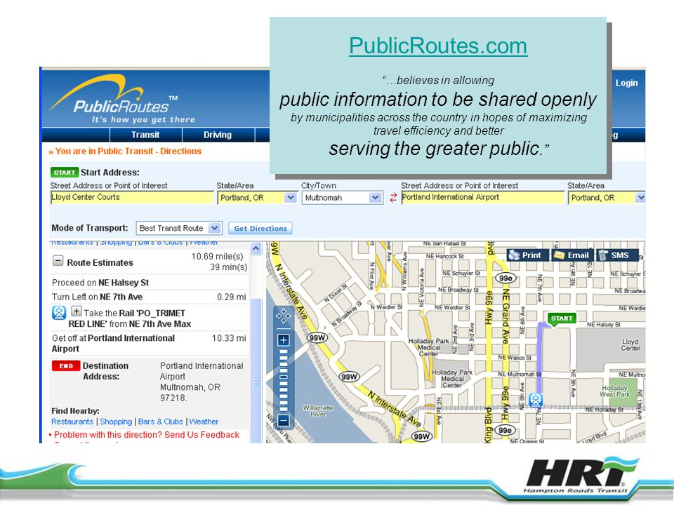 PublicRoutes.com …believes in allowing public information to be shared openly by municipalities across the country in hopes of maximizing travel efficiency and better serving the greater public. PublicRoutes.com …believes in allowing public information to be shared openly by municipalities across the country in hopes of maximizing travel efficiency and better serving the greater public.
