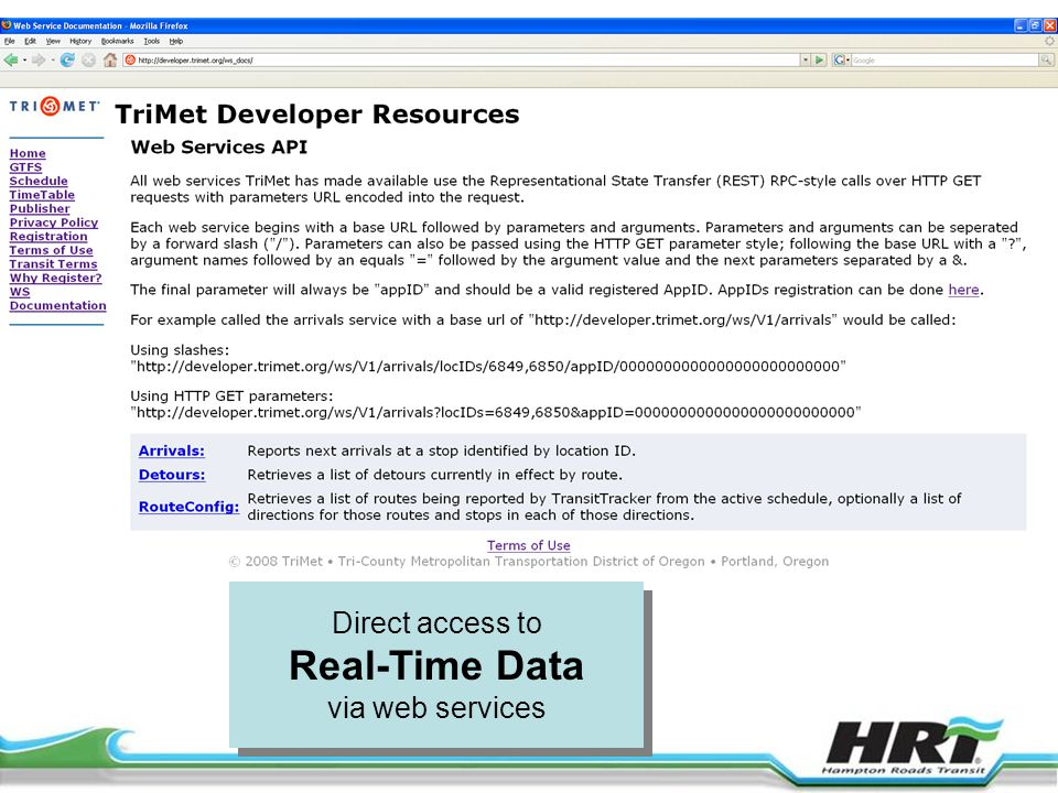 Direct access to Real-Time Data via web services Direct access to Real-Time Data via web services