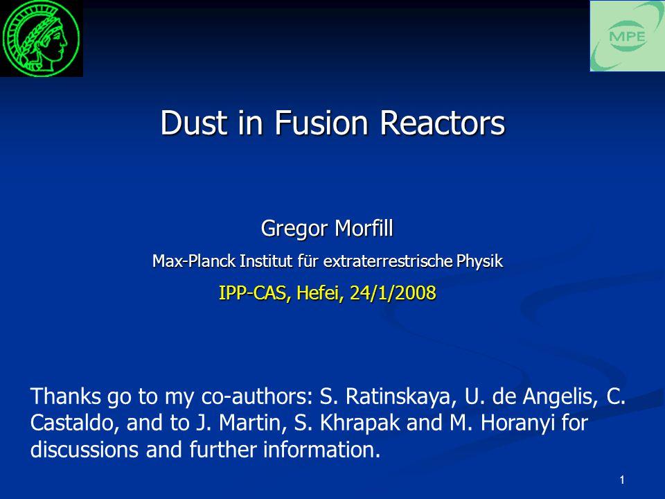 1 Gregor Morfill Max-Planck Institut für extraterrestrische Physik IPP-CAS, Hefei, 24/1/2008 Thanks go to my co-authors: S. Ratinskaya, U. de Angelis,