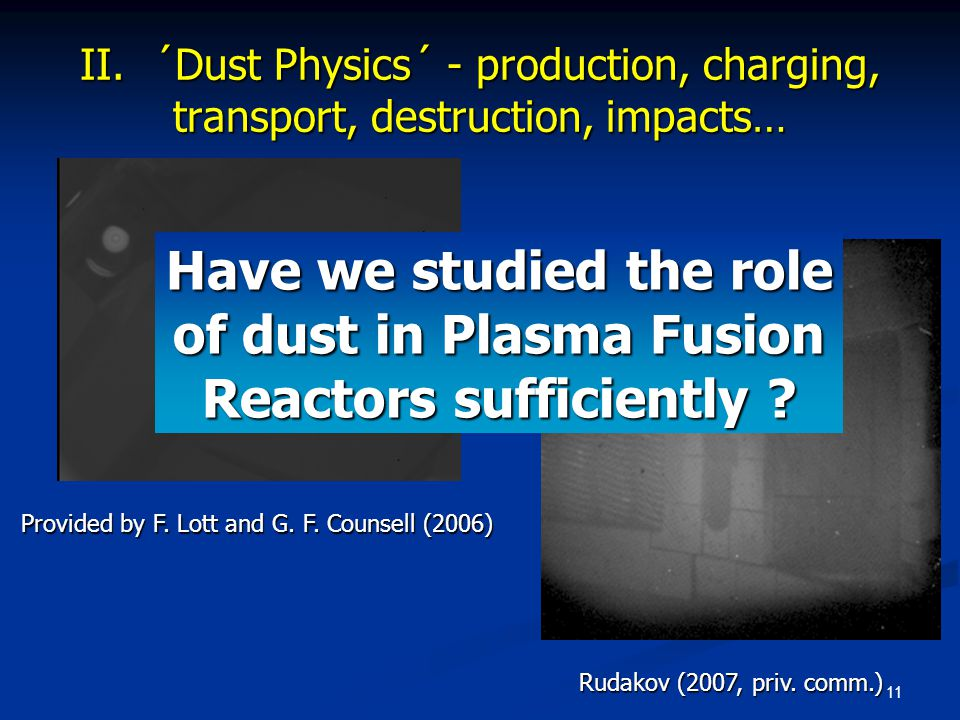 11 Provided by F. Lott and G. F. Counsell (2006) Rudakov (2007, priv. comm.) Have we studied the role of dust in Plasma Fusion Reactors sufficiently ?