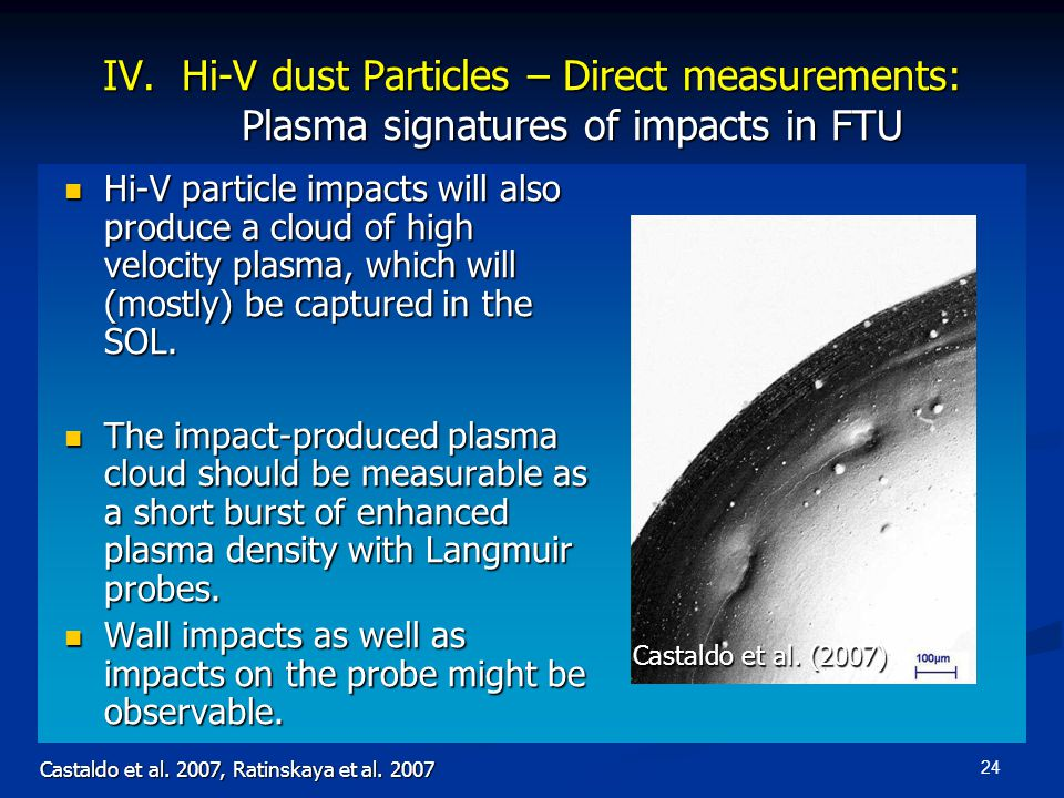 24 IV. Hi-V dust Particles – Direct measurements: Plasma signatures of impacts in FTU Hi-V particle impacts will also produce a cloud of high velocity