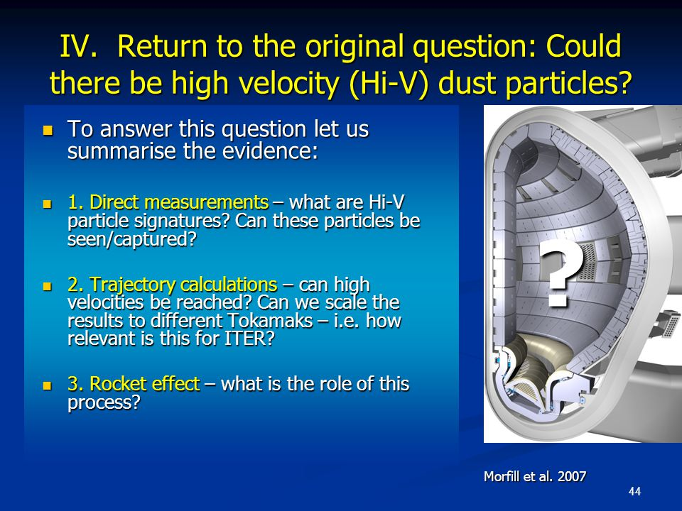44 IV. Return to the original question: Could there be high velocity (Hi-V) dust particles? To answer this question let us summarise the evidence: To