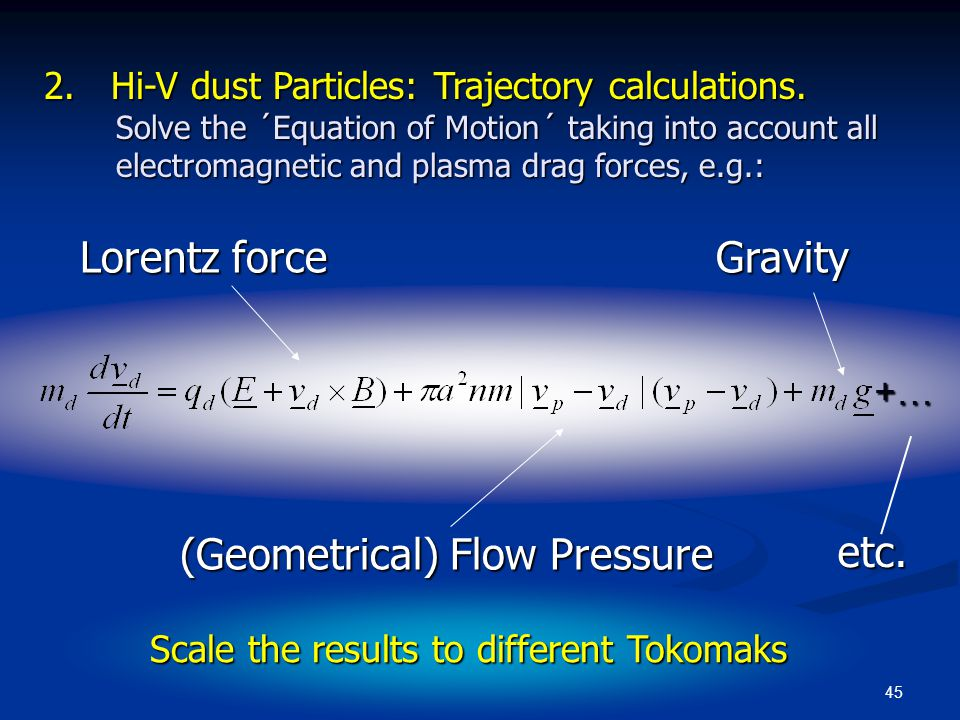45 2. Hi-V dust Particles: Trajectory calculations. Solve the ´Equation of Motion´ taking into account all electromagnetic and plasma drag forces, e.g
