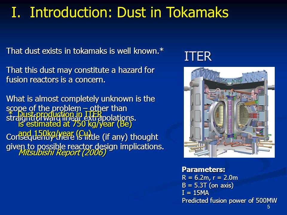 5 That dust exists in tokamaks is well known.* That this dust may constitute a hazard for fusion reactors is a concern. What is almost completely unkn