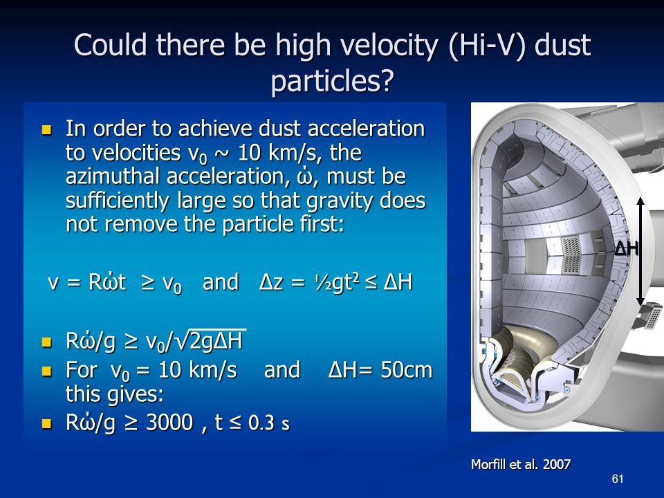61 Could there be high velocity (Hi-V) dust particles? In order to achieve dust acceleration to velocities v 0 ~ 10 km/s, the azimuthal acceleration,