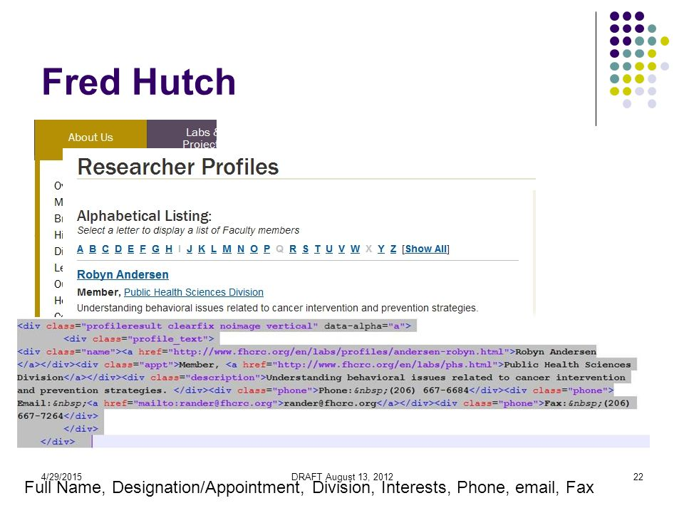 4/29/2015DRAFT August 13, 201222 Fred Hutch Full Name, Designation/Appointment, Division, Interests, Phone, email, Fax