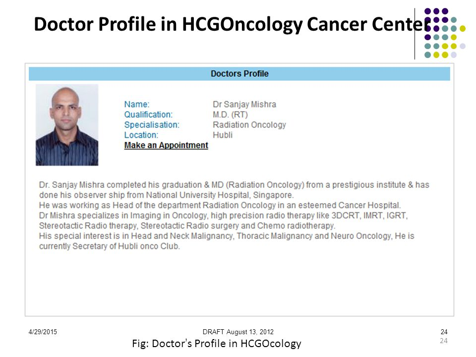 4/29/2015DRAFT August 13, 201224 Doctor Profile in HCGOncology Cancer Center Fig: Doctor's Profile in HCGOcology 24