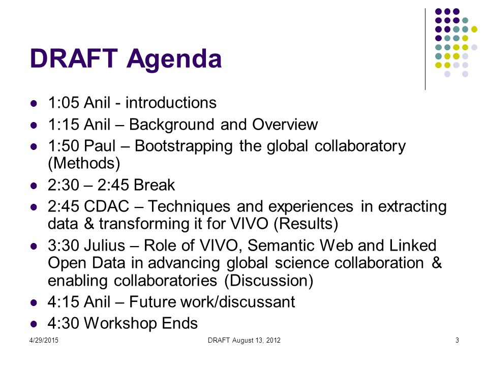 4/29/2015DRAFT August 13, 20123 DRAFT Agenda 1:05 Anil - introductions 1:15 Anil – Background and Overview 1:50 Paul – Bootstrapping the global collaboratory (Methods) 2:30 – 2:45 Break 2:45 CDAC – Techniques and experiences in extracting data & transforming it for VIVO (Results) 3:30 Julius – Role of VIVO, Semantic Web and Linked Open Data in advancing global science collaboration & enabling collaboratories (Discussion) 4:15 Anil – Future work/discussant 4:30 Workshop Ends