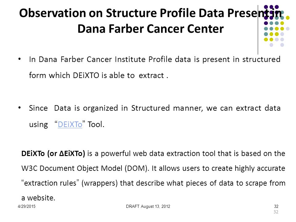 4/29/2015DRAFT August 13, 201232 In Dana Farber Cancer Institute Profile data is present in structured form which DEiXTO is able to extract.