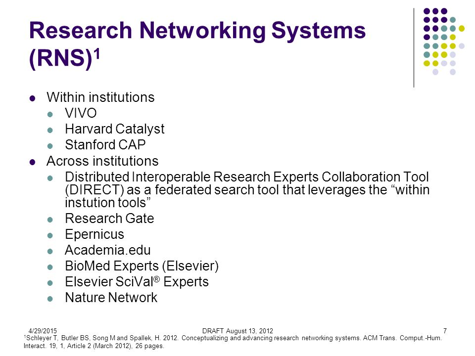 4/29/2015DRAFT August 13, 20127 Research Networking Systems (RNS) 1 Within institutions VIVO Harvard Catalyst Stanford CAP Across institutions Distributed Interoperable Research Experts Collaboration Tool (DIRECT) as a federated search tool that leverages the within instution tools Research Gate Epernicus Academia.edu BioMed Experts (Elsevier) Elsevier SciVal ® Experts Nature Network 1 Schleyer T, Butler BS, Song M and Spallek, H.