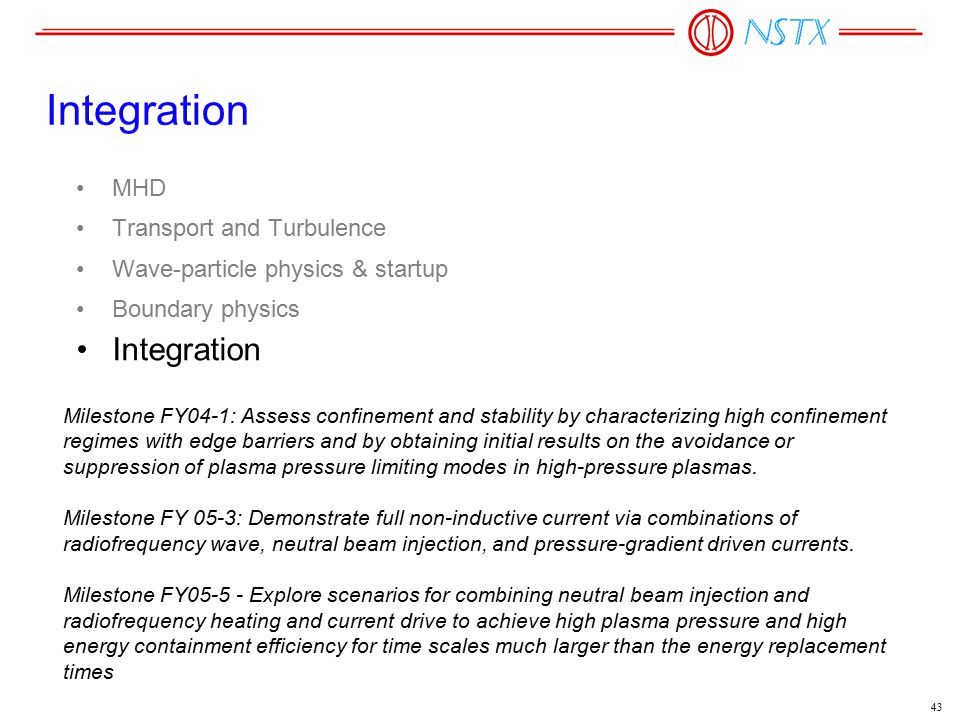 43 Integration MHD Transport and Turbulence Wave-particle physics & startup Boundary physics Integration Milestone FY04-1: Assess confinement and stab