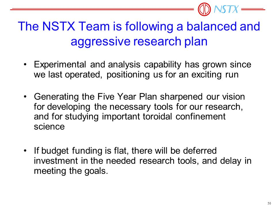 50 The NSTX Team is following a balanced and aggressive research plan Experimental and analysis capability has grown since we last operated, positioni