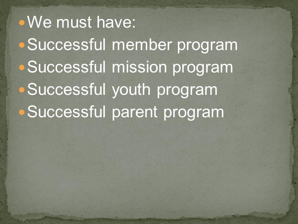 We must have: Successful member program Successful mission program Successful youth program Successful parent program