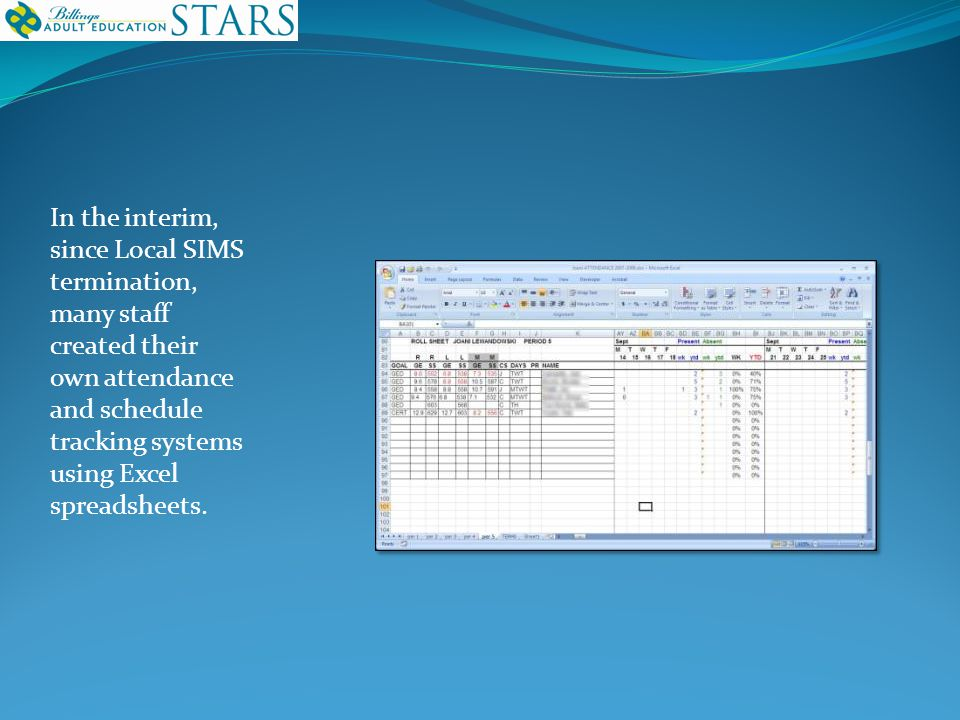 In the interim, since Local SIMS termination, many staff created their own attendance and schedule tracking systems using Excel spreadsheets.