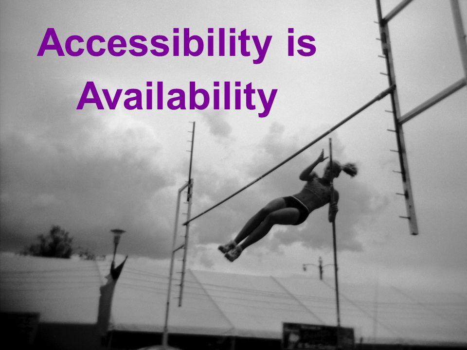 19 Accessibility = Availability Accessibility is Availability