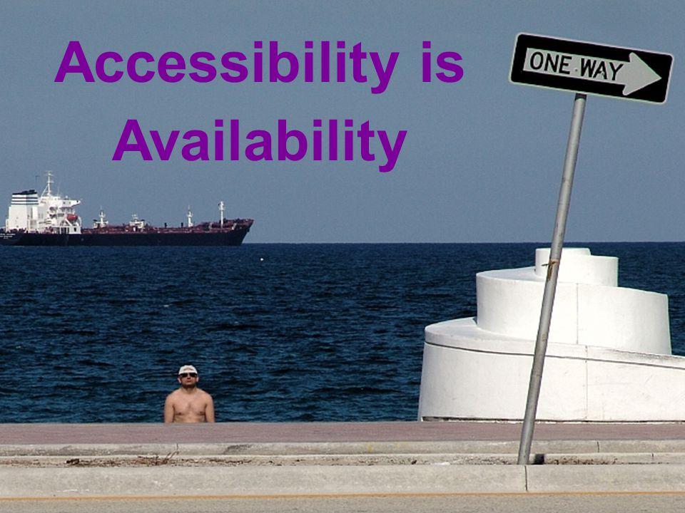 20 Accessibility = Availability Accessibility is Availability