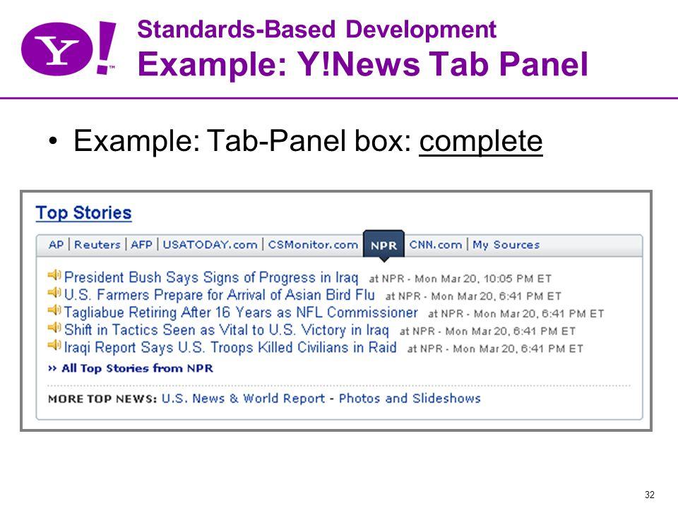 32 Standards-Based Development Example: Y!News Tab Panel Example: Tab-Panel box: complete