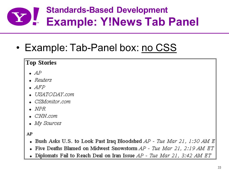 33 Standards-Based Development Example: Y!News Tab Panel Example: Tab-Panel box: no CSS