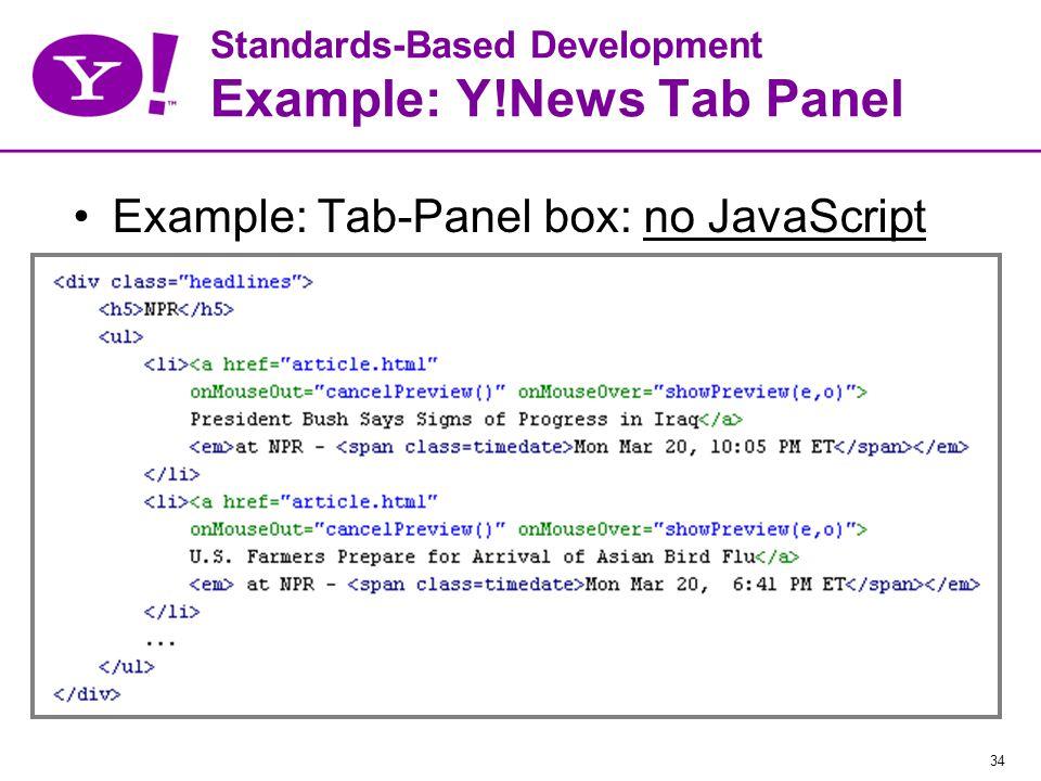 34 Standards-Based Development Example: Y!News Tab Panel Example: Tab-Panel box: no JavaScript