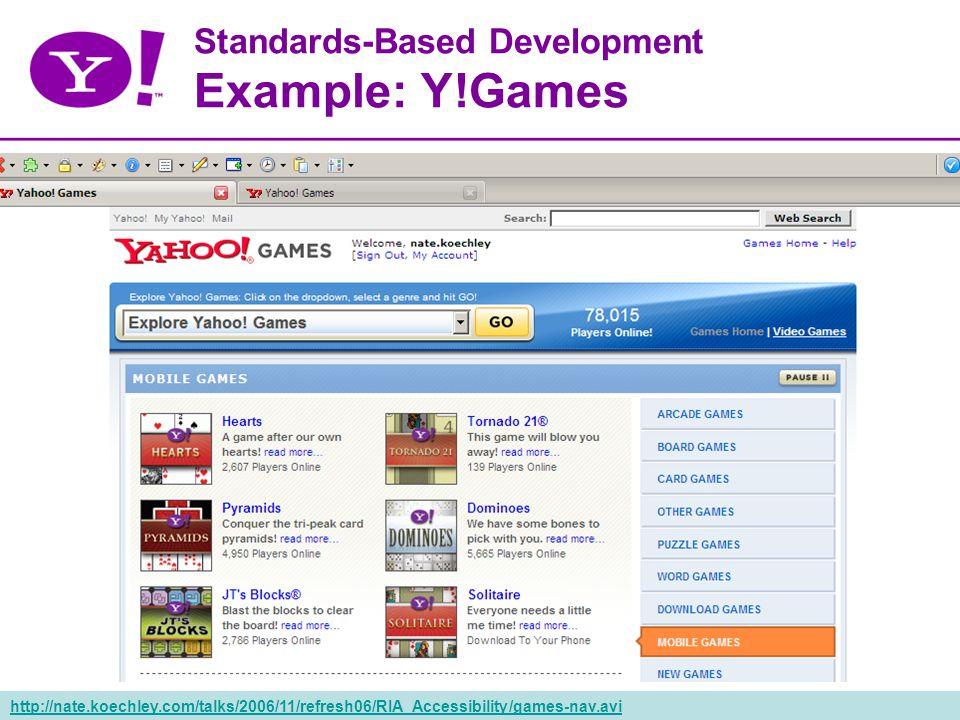 37 Standards-Based Development Example: Y!Games http://nate.koechley.com/talks/2006/11/refresh06/RIA_Accessibility/games-nav.avi
