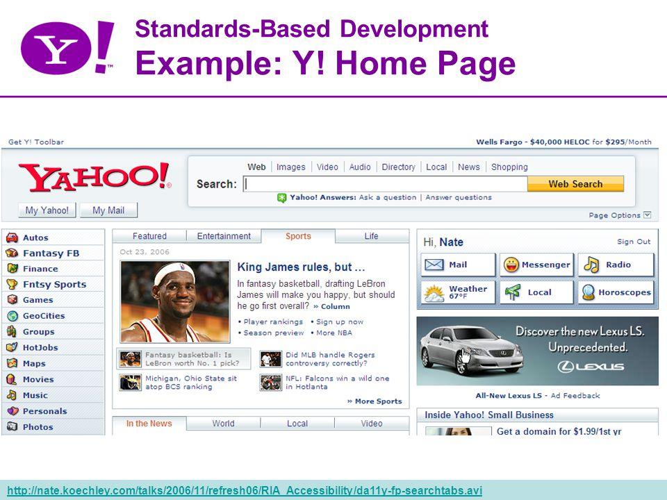 38 Standards-Based Development Example: Y.