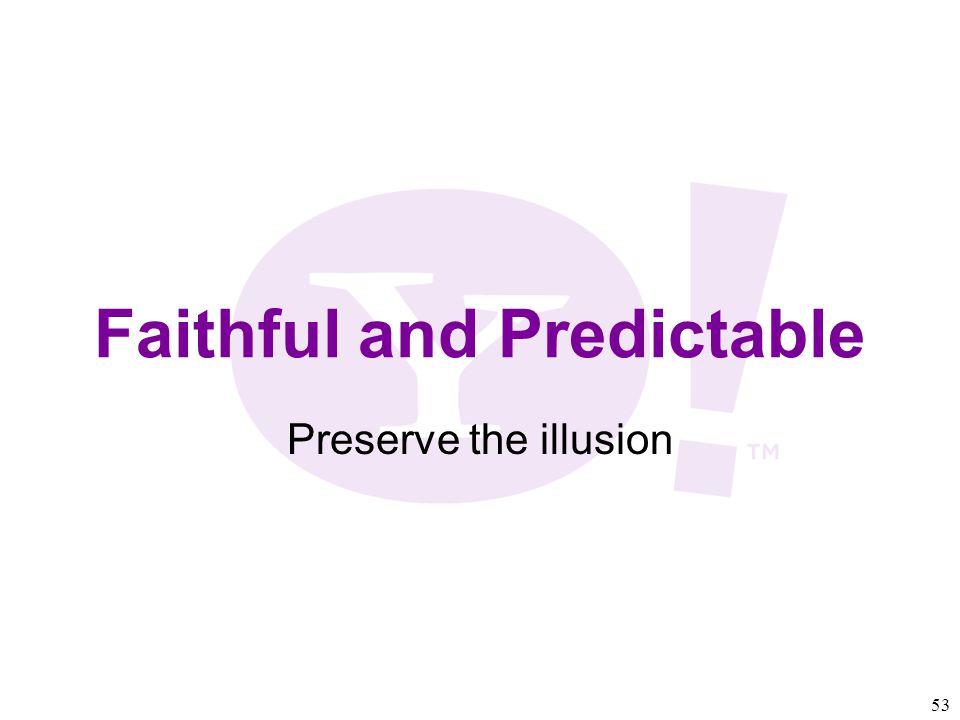 53 Faithful and Predictable Preserve the illusion
