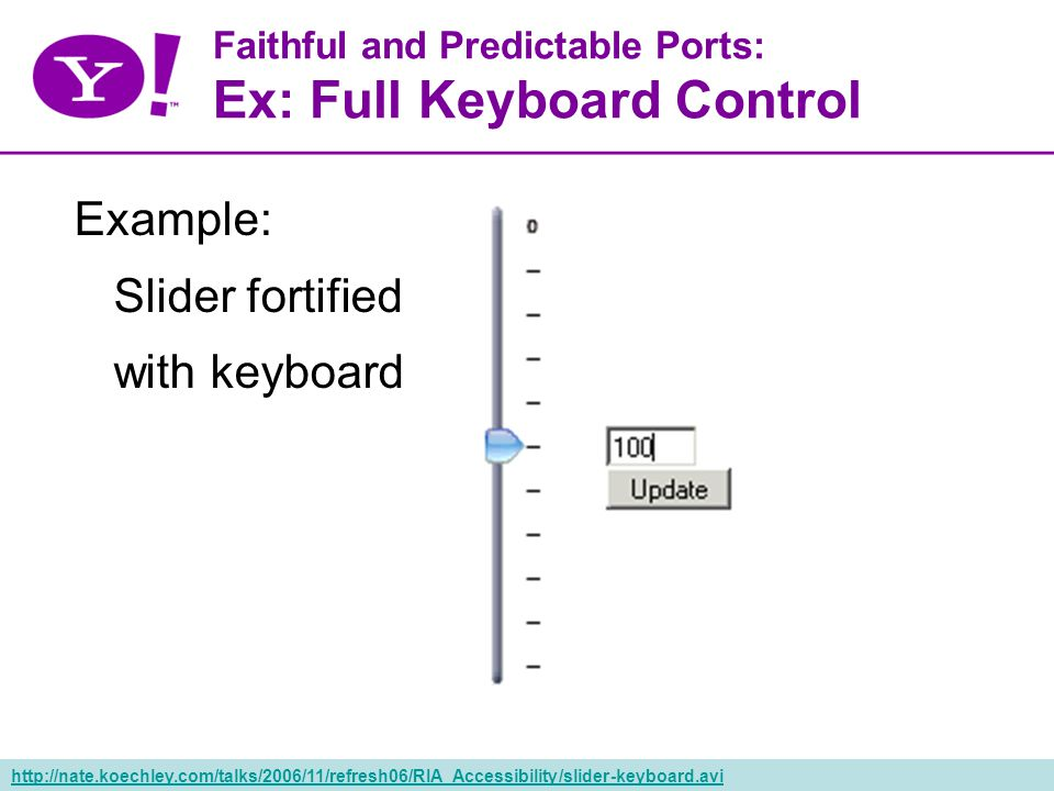 57 Faithful and Predictable Ports: Ex: Full Keyboard Control Example: Slider fortified with keyboard http://nate.koechley.com/talks/2006/11/refresh06/RIA_Accessibility/slider-keyboard.avi