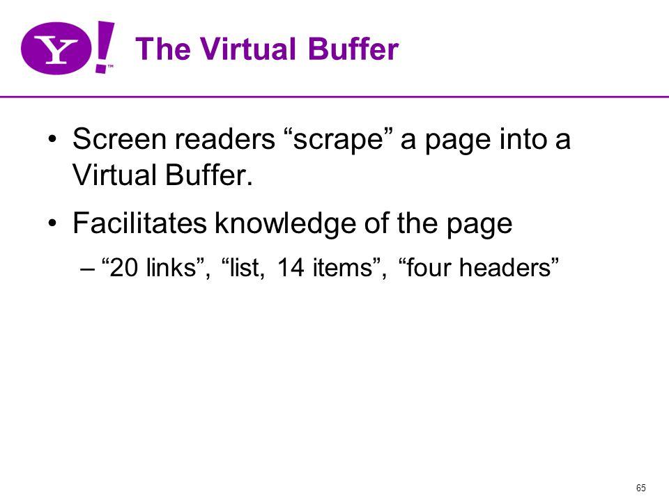 65 The Virtual Buffer Screen readers scrape a page into a Virtual Buffer.