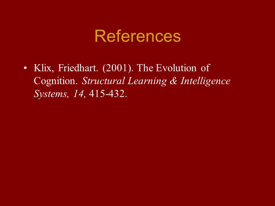 References Klix, Friedhart. (2001). The Evolution of Cognition.