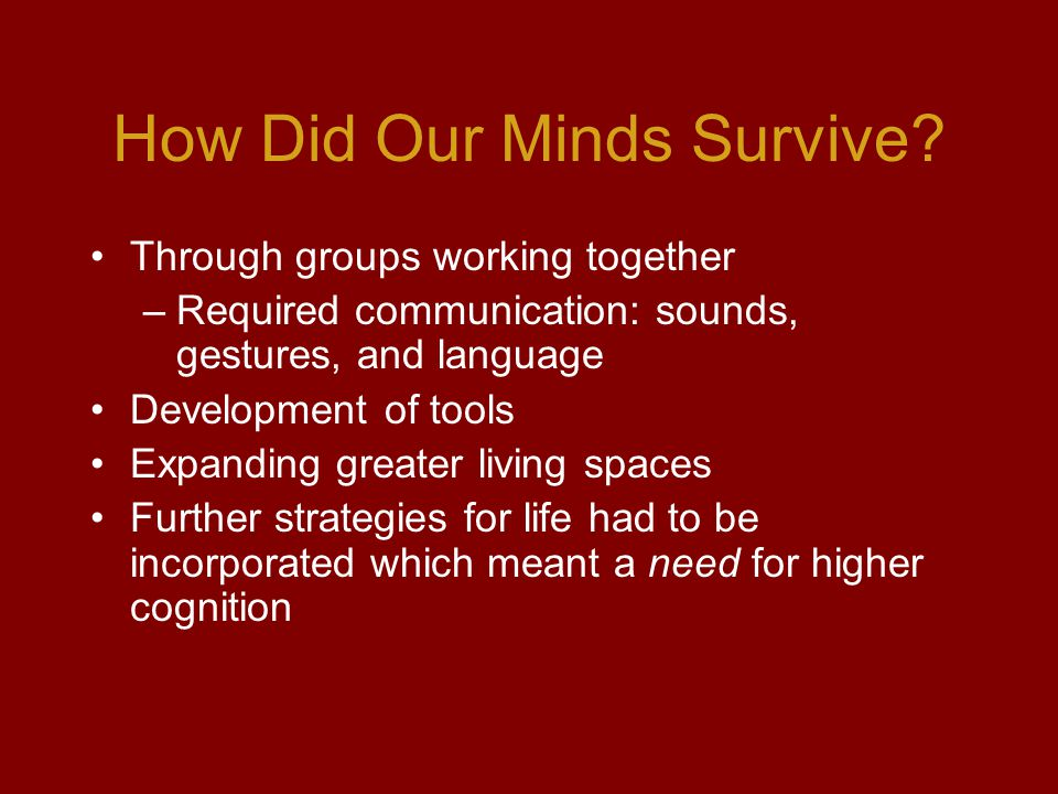 How Did Our Minds Survive.