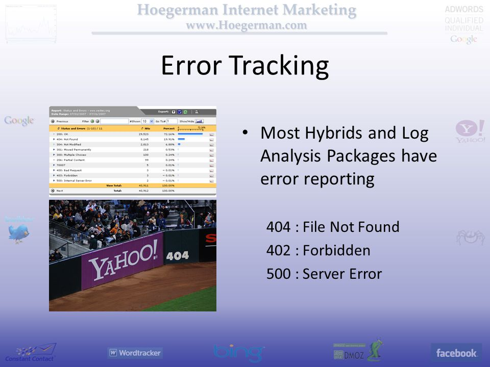 Error Tracking Most Hybrids and Log Analysis Packages have error reporting 404 : File Not Found 402 : Forbidden 500 : Server Error