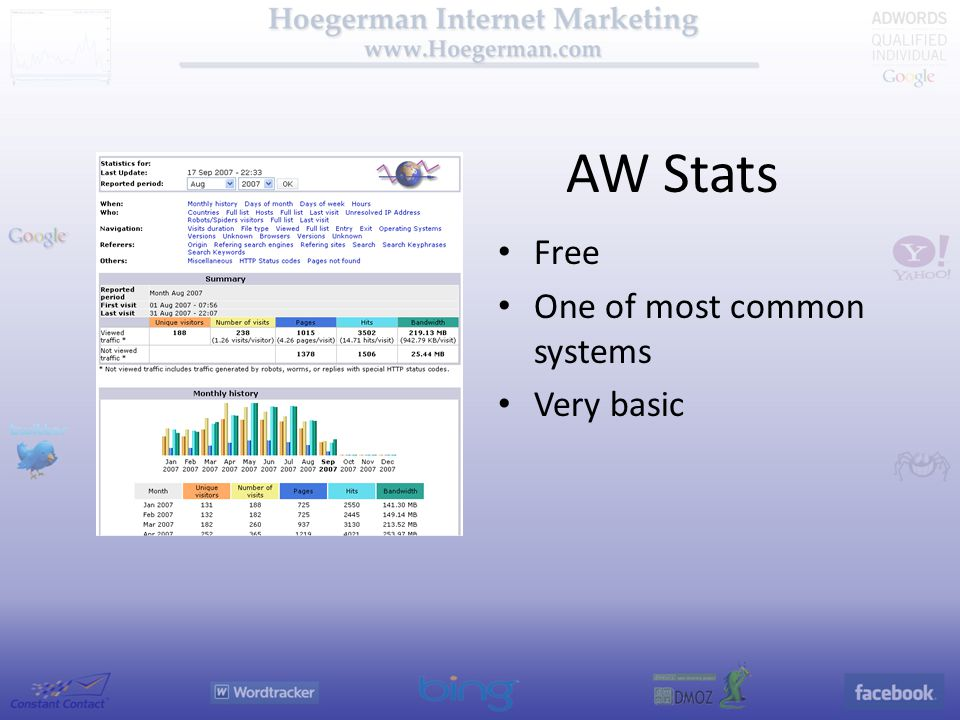 AW Stats Free One of most common systems Very basic
