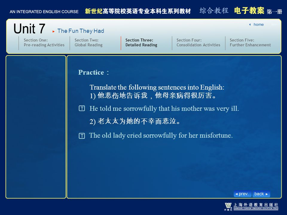 The Fun They Had Section Two: Global Reading Section Three: Detailed Reading 3.text11-12-W-sorrowfullly2 Section One: Pre-reading Activities Practice : Translate the following sentences into English: 1) 他悲伤地告诉我,他母亲病得很厉害。 2) 老太太为她的不幸而悲泣。 He told me sorrowfully that his mother was very ill.