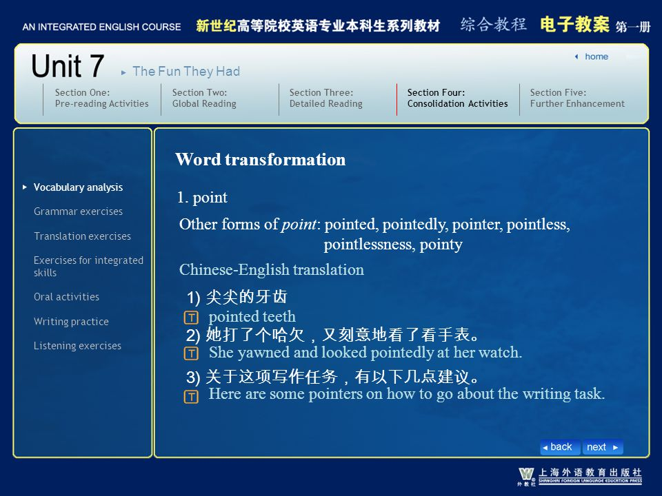 Vocabulary analysis Section Four: Consolidation Activities SectionFour_V_W_1 Word transformation 1.
