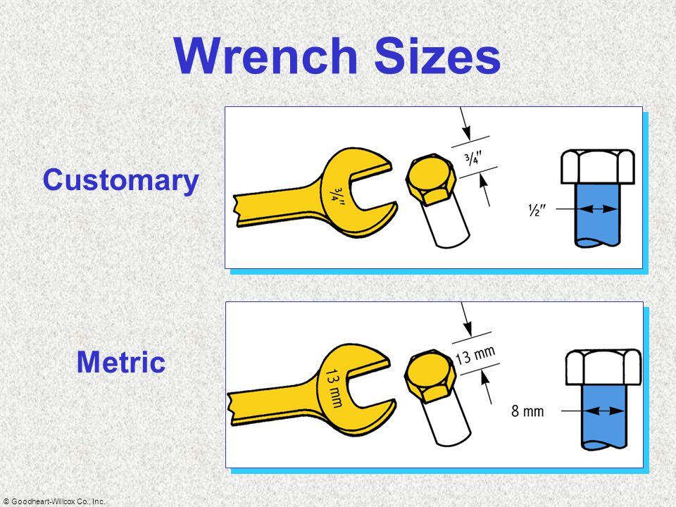 © Goodheart-Willcox Co., Inc. Wrench Sizes Customary Metric