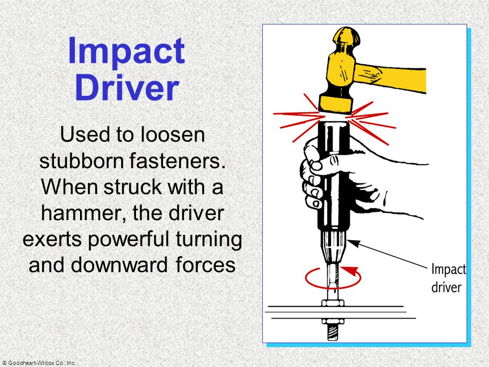 © Goodheart-Willcox Co., Inc. Impact Driver Used to loosen stubborn fasteners. When struck with a hammer, the driver exerts powerful turning and downw
