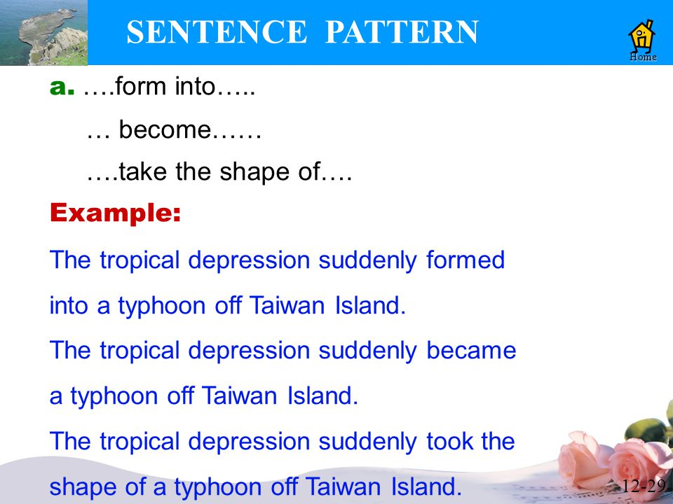 12-29 SENTENCE PATTERN Home a. ….form into….. … become…… ….take the shape of….
