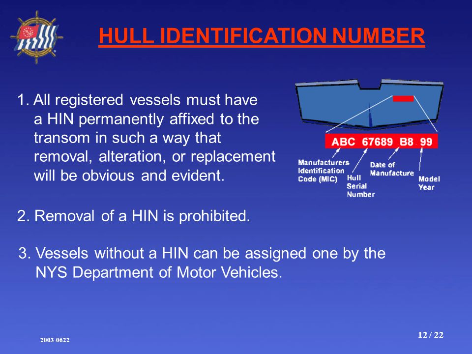 2003-0622 12 / 22 HULL IDENTIFICATION NUMBER 1.