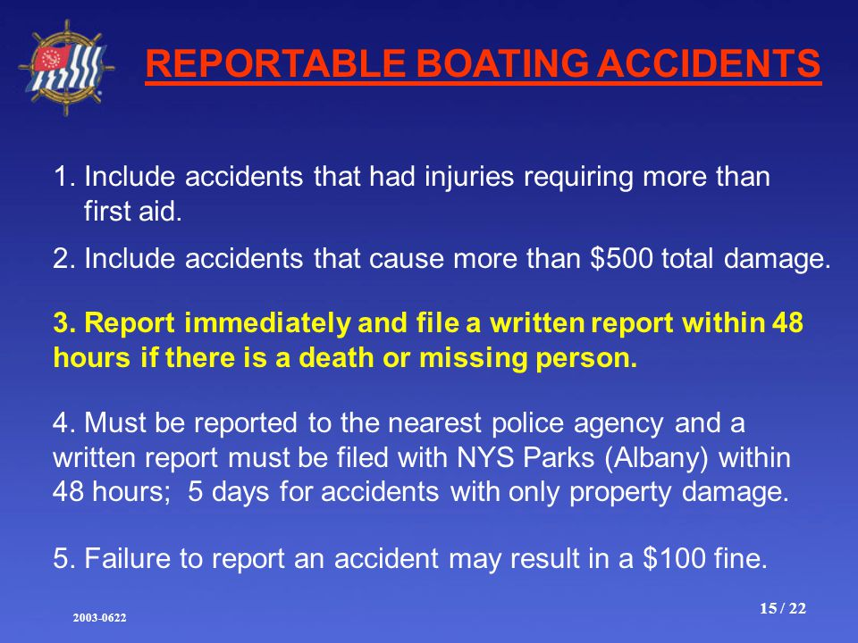 2003-0622 15 / 22 REPORTABLE BOATING ACCIDENTS 1.