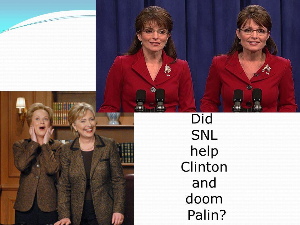 Did SNL help Clinton and doom Palin?