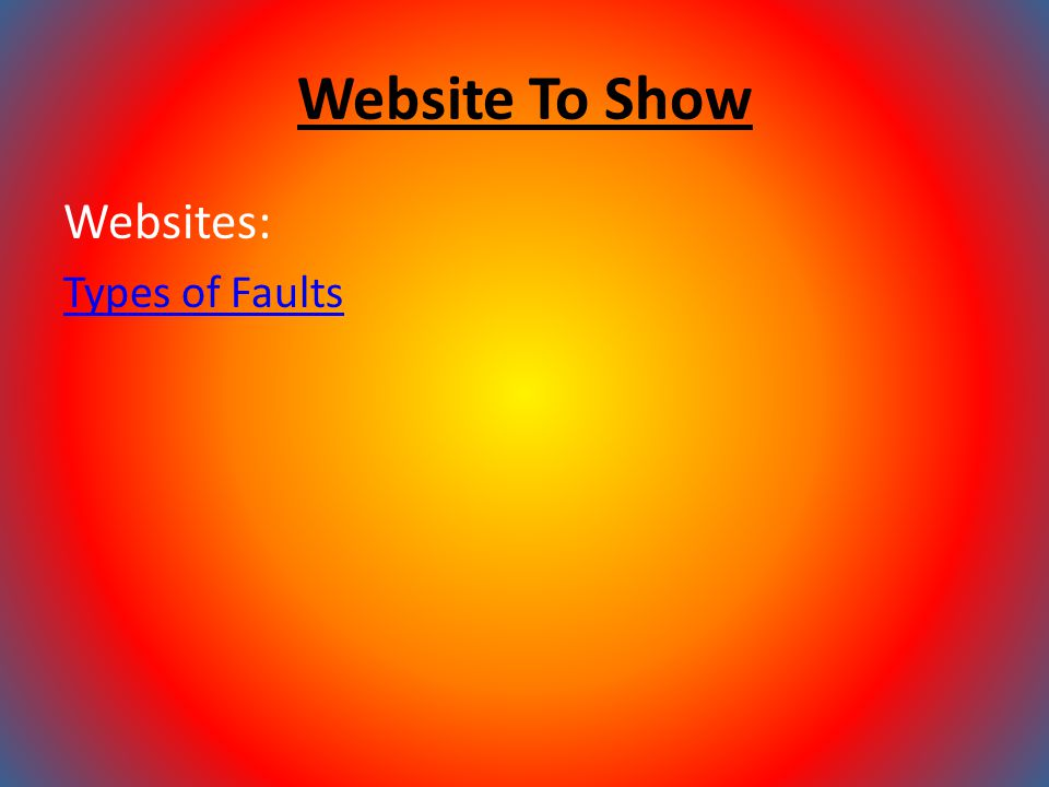 Website To Show Websites: Types of Faults